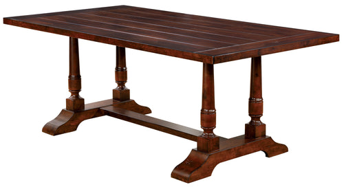 Madison Country Style Plank Top Dining Table, Brown Cherry
