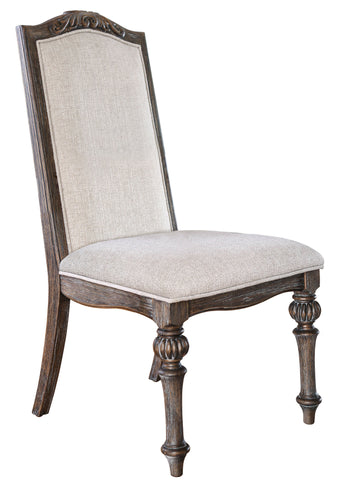 Marellis Transitional Scrolled Wood Inlay Rustic Natural Tone and Ivory Side Chairs (Set of 2)