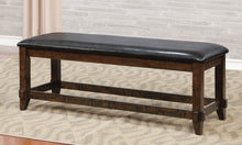 Linden Transitional Padded Vegan Leatherette Dining Bench, Brown Cherry