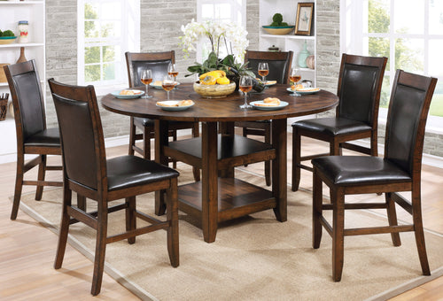 Walden Transitional Counter-Height Round Dining Table, Brown Cherry