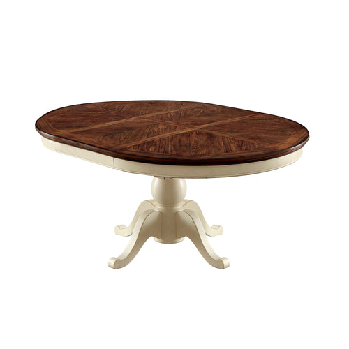 Lucie Cottage Expandable Round Oak Dining Table
