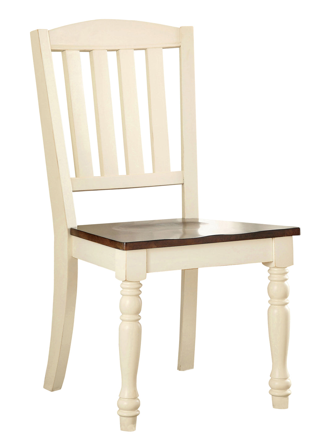 Harrisburg Cottage Style Dark Oak and Vintage White Dining Chair, Set of 2