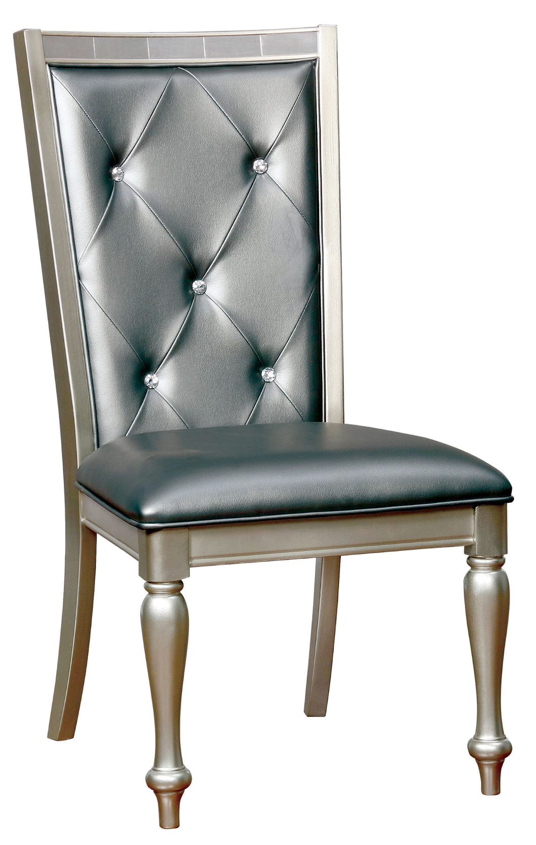 Arynah Contemporary Button Tufted Leatherette Dining Chair, Silver Gray (Set of 2)