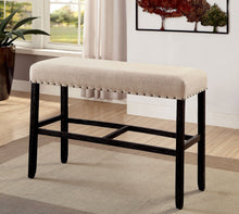 Ambrosia Rustic Nailhead Trim Fabric Padded Bar Bench