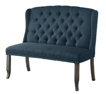 Ambrosia Transitional Nailhead Trim Fabric Loveseat Dining Bench