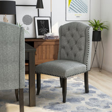 Ambrosia Transitional Wing-back Button Tufted Fabric Dining Chairs (Set of 2)