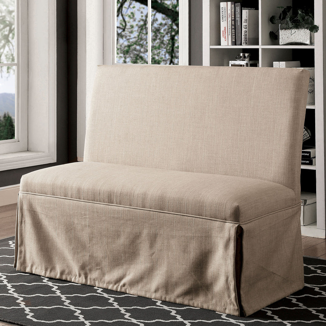 Loriana Transitional Beige Loveseat Bench