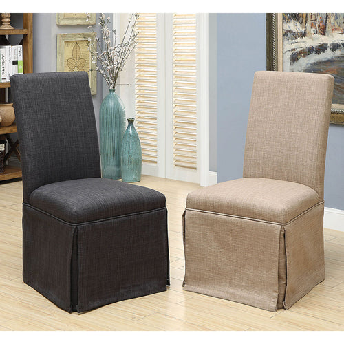 Brittana Transitional Dark Grey Side Chairs (Set of 2)