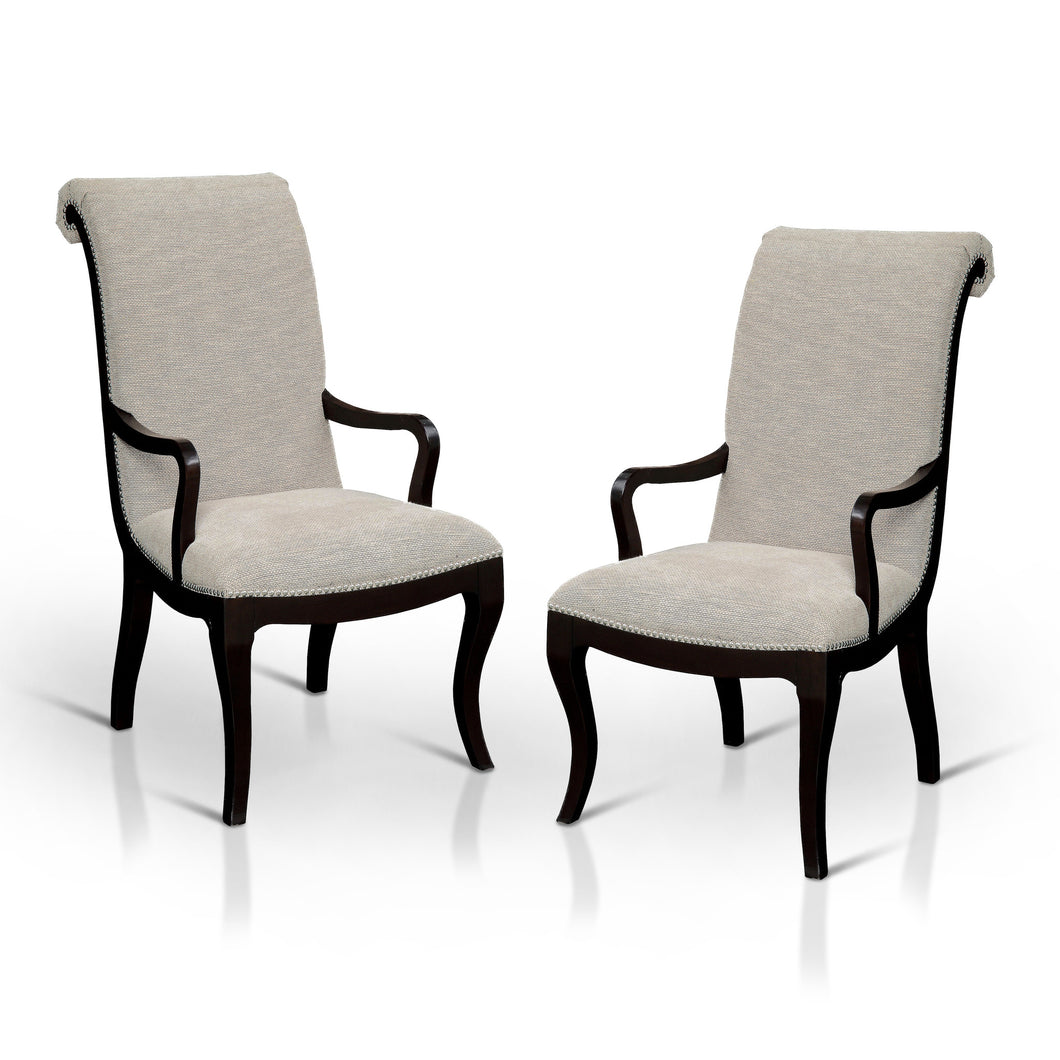Caia Contemporary Ivory Fabric Dining Arm Chair, Set of 2
