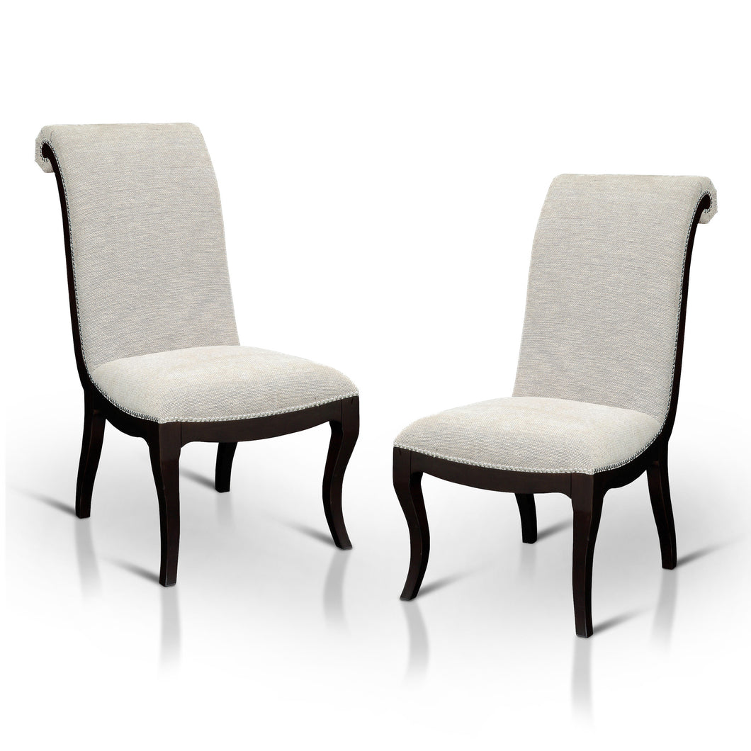 Caia Contemporary Ivory Fabric Dining Chair, Set of 2