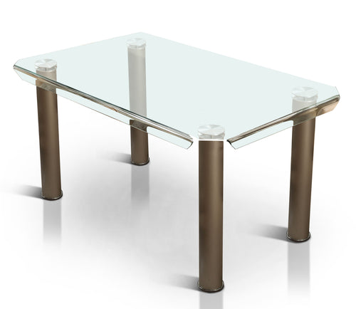 Harlin Contemporary Tempered Glass Top Dining Table