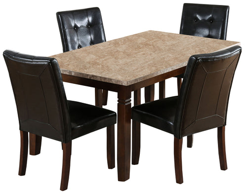 Angorah Modern Genuine Marble Brown Cherry Counter Height Dining Set