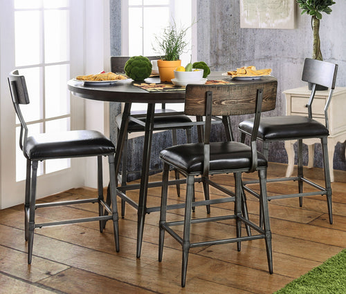 Antonia Industrial 5 PieceCounter Height Round Dining Set, Weathered Gray