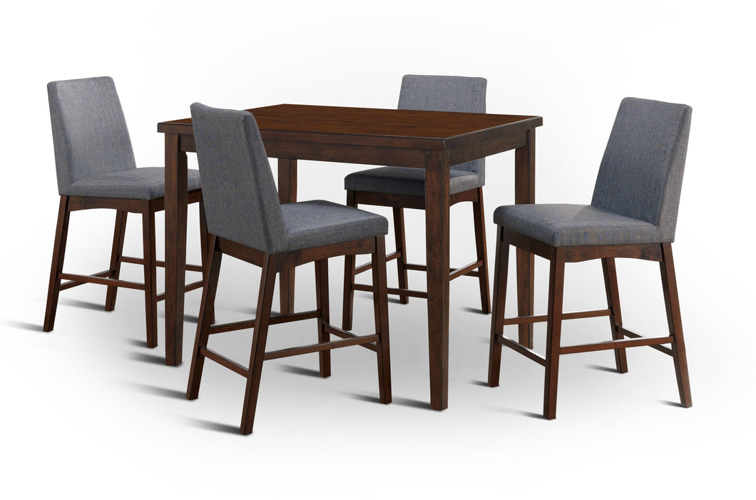 Lulu Mid-Century Modern Brown Cherry 5-Piece Counter Height Dining Set