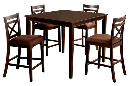 Weston Contemporary 5-Piece Espresso Counter Height Dining Set