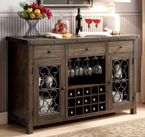 Gulliver Traditional Multi-Storage Dining Server, Rustic Walnut
