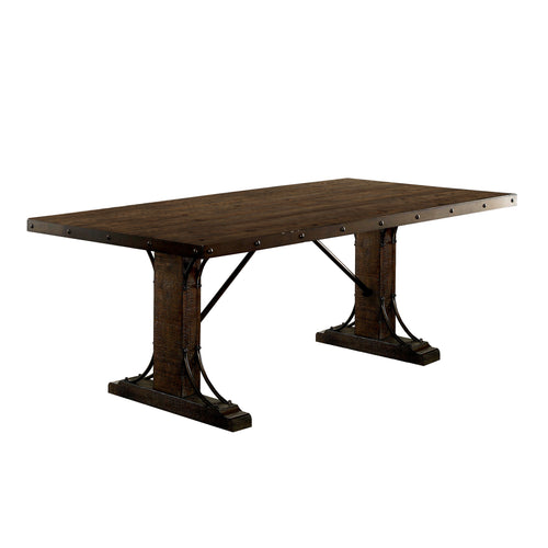 Gulliver Traditional Bolt Accents Trim Dining Table, Rustic Walnut
