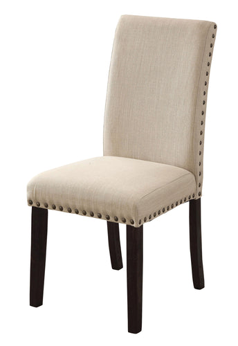 Camille Contemporary Nailhead Trim Ivory Fabric Dining Chair (Set of 2)