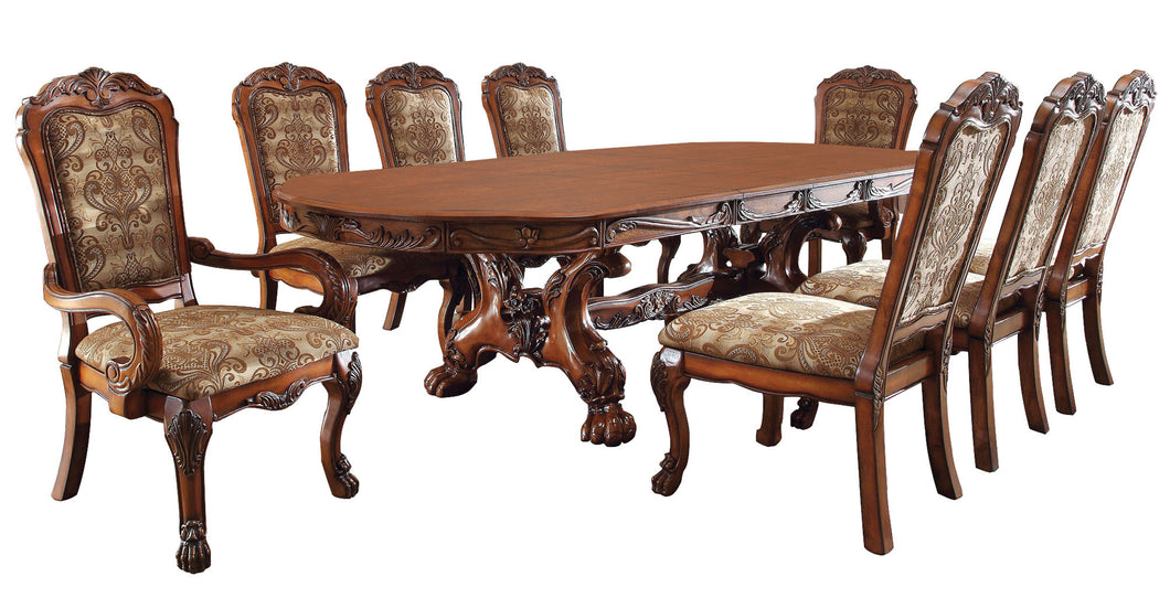 Medieve English Style Antique Oak 9-Piece Formal Dining Set