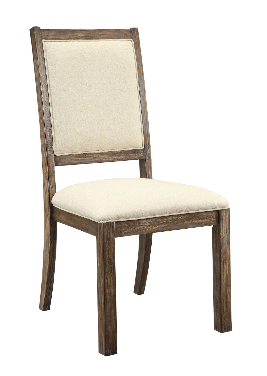 Kylie Industrial Rustic Oak Padded Fabric Dining Chair (Set of 2)