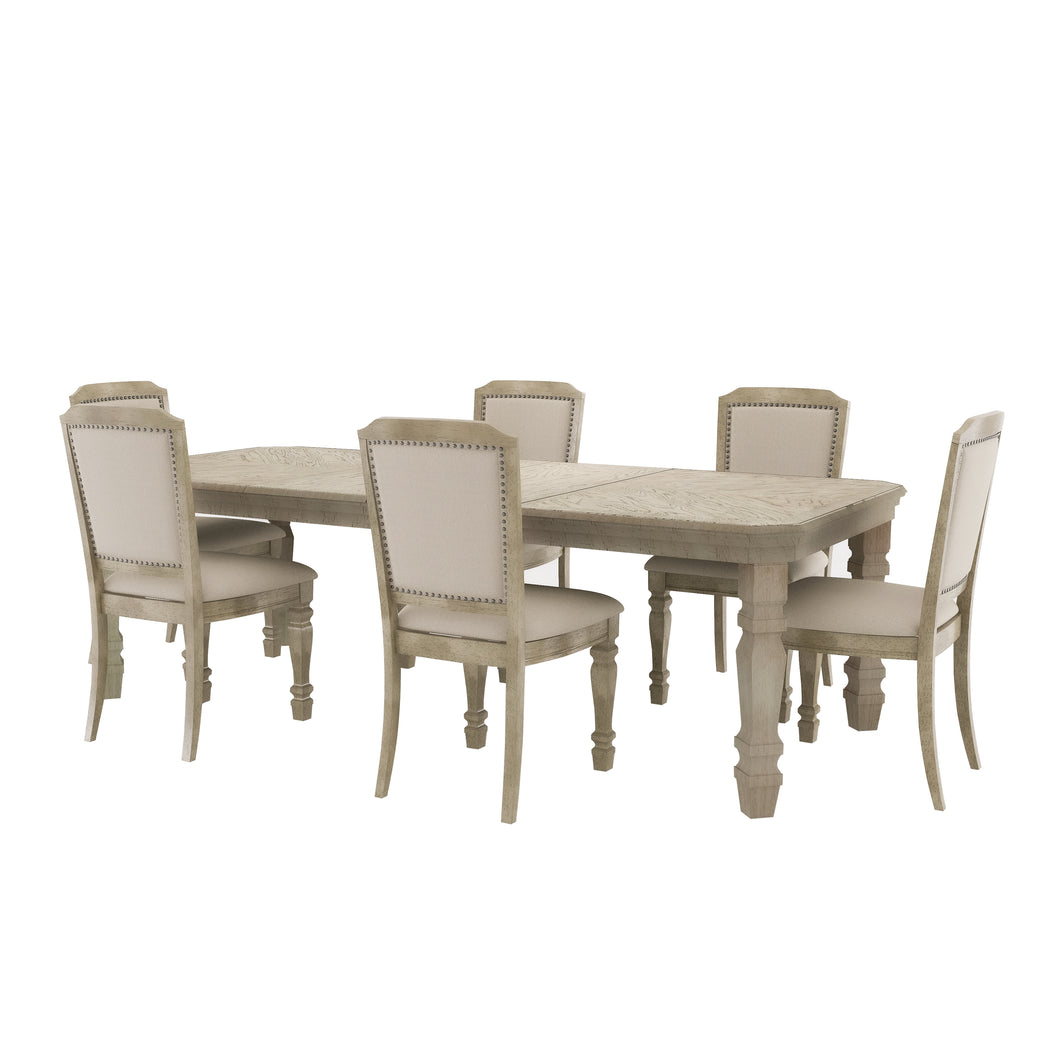 Eloise Traditional 7-Piece Antique White Dining Set