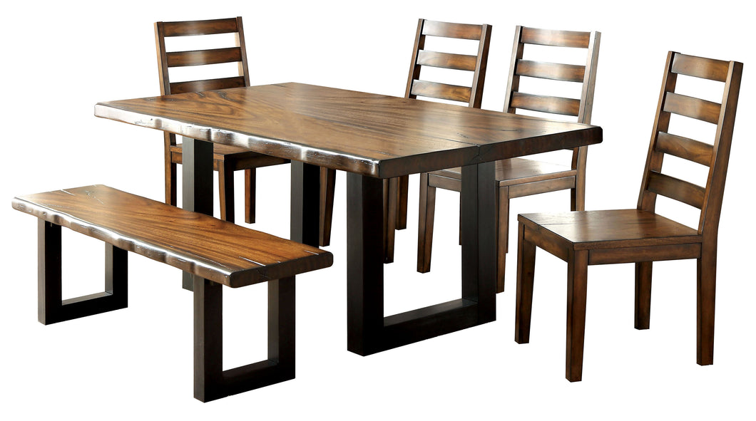 Osunna Contemporary 6-Piece Dining Set with Bench, Tobacco Oak