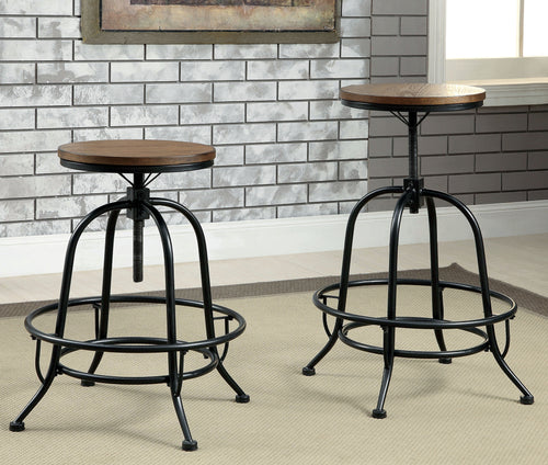 Regino Industrial Counter Height Bar Stool in Medium Oak