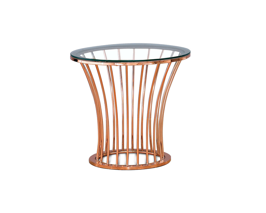 Clancy Rose Gold Finish End Table