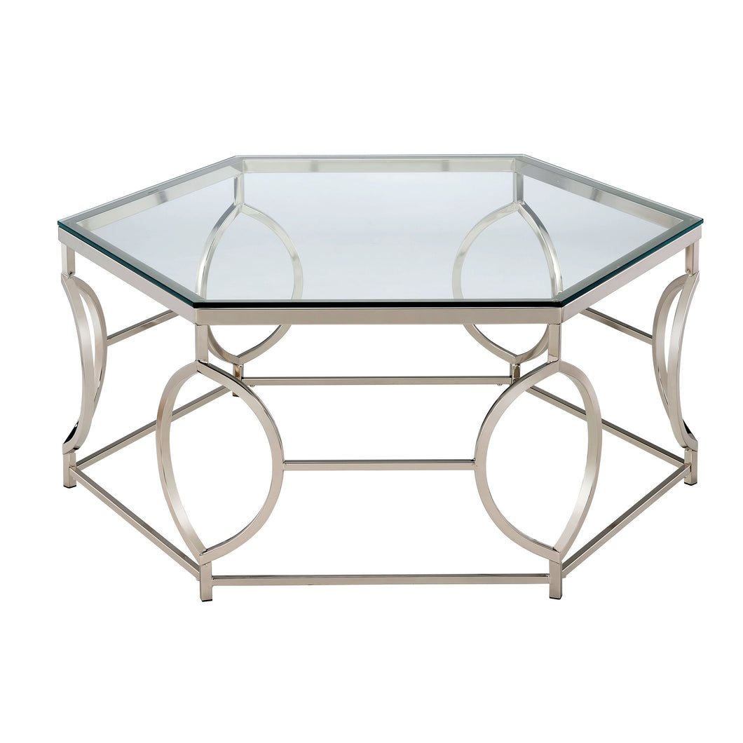 Eliza chrome finished hexagon coffee table 247 shop at home eliza chrome finished hexagon coffee table geotapseo Images