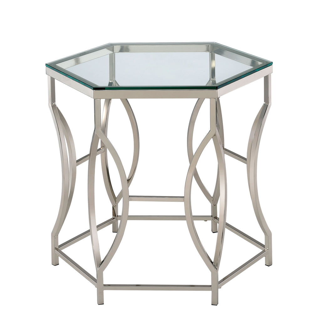 Eliza Chrome Finished Hexagon End Table