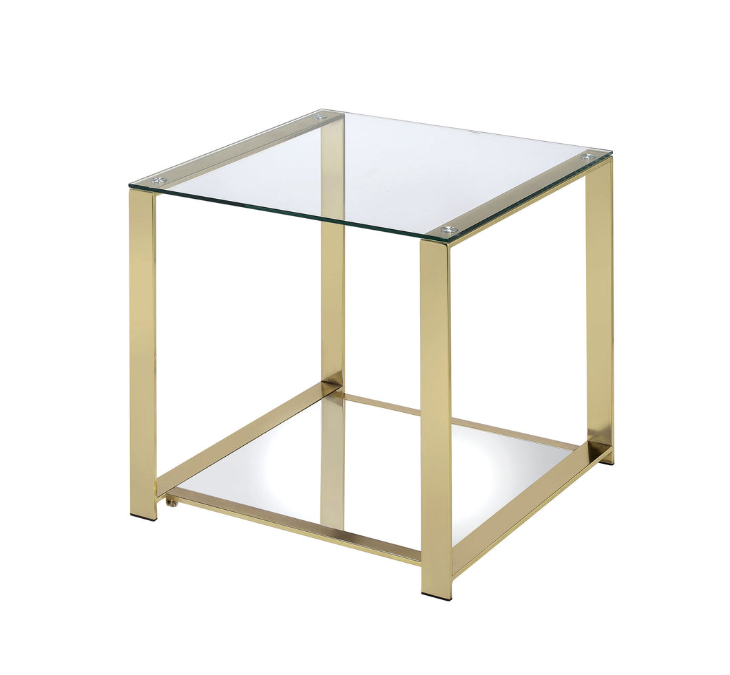 Lucille Champagne Finish Metal End Table
