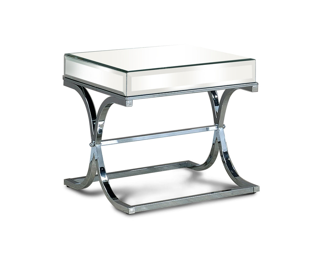 Pellias Chrome Finish Glass End Table