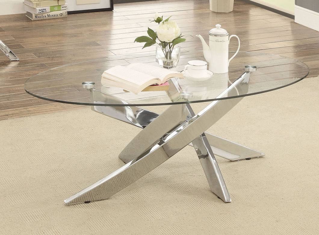 Topher Contemporary Glass Top Chrome Coffee Table