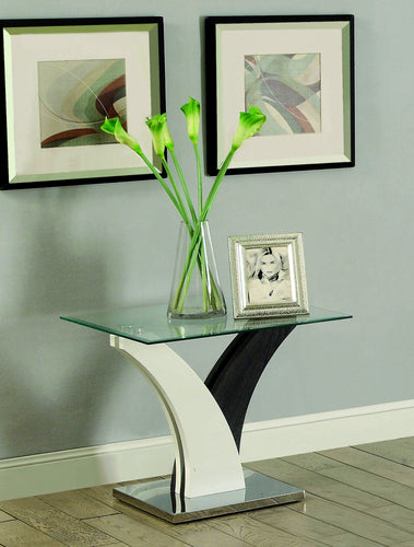 Venitia Contemporary V-Base Glass Top End Table, White and Dark Gray