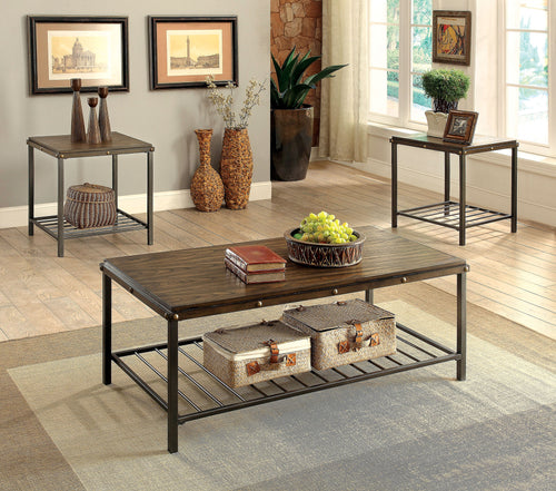 Arman Industrial Dark Oak 3-piece Table Set