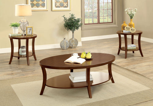 Bolding Contemporary 3-Piece Open Shelf Brown Cherry Accent Table Set