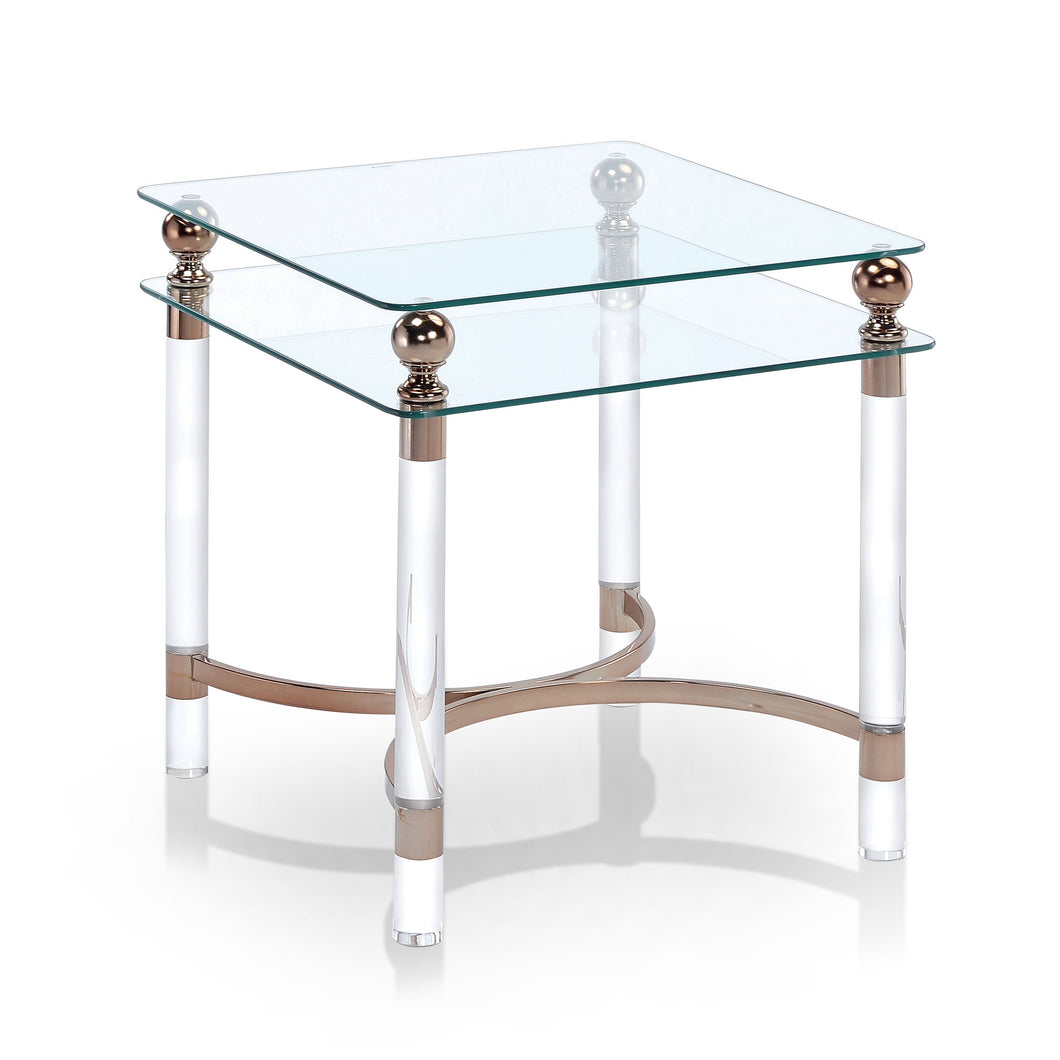 Cornelia Gold Finish End Table