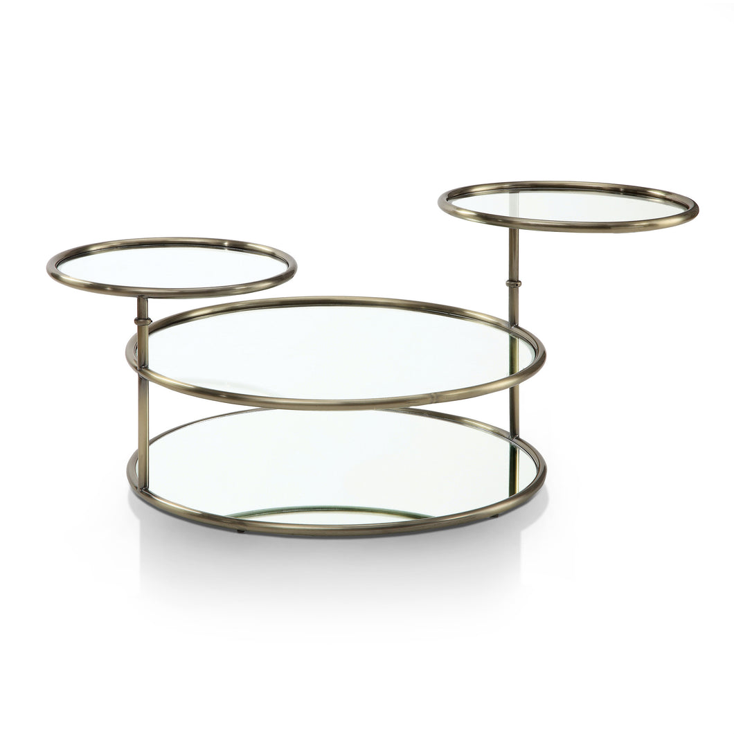 Jacinta Champagne Finish Swivel Glass Coffee Table