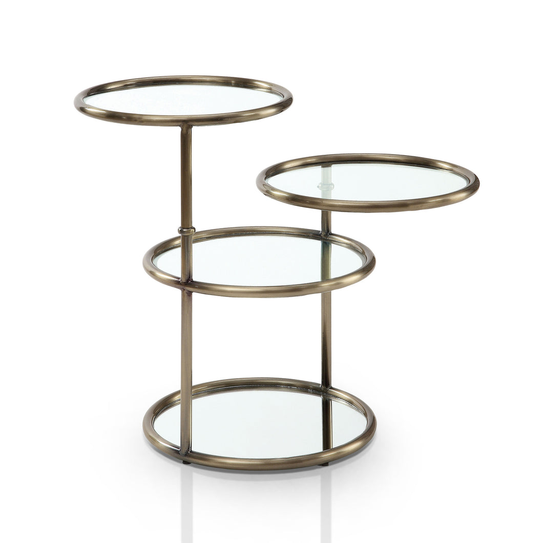 Jacinta Champagne Finish Swivel Glass End Table