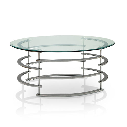 Carelli Contemporary Spiral Round Glass Top Coffee Table