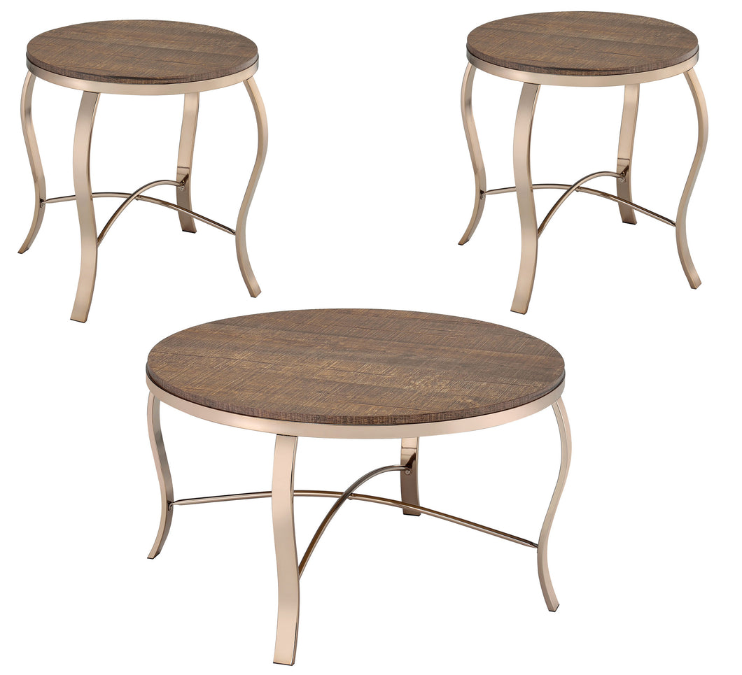 Orellia Transitional 3 Piece Round Rustic Oak Coffee Table Set
