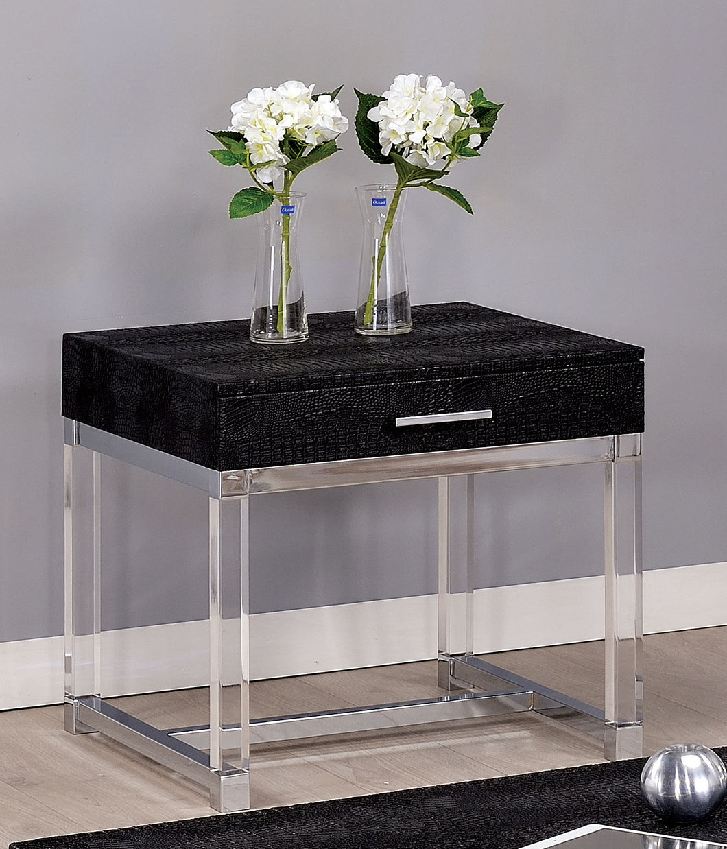 Boscco Modern Crocodile Leatherette Storage End Table
