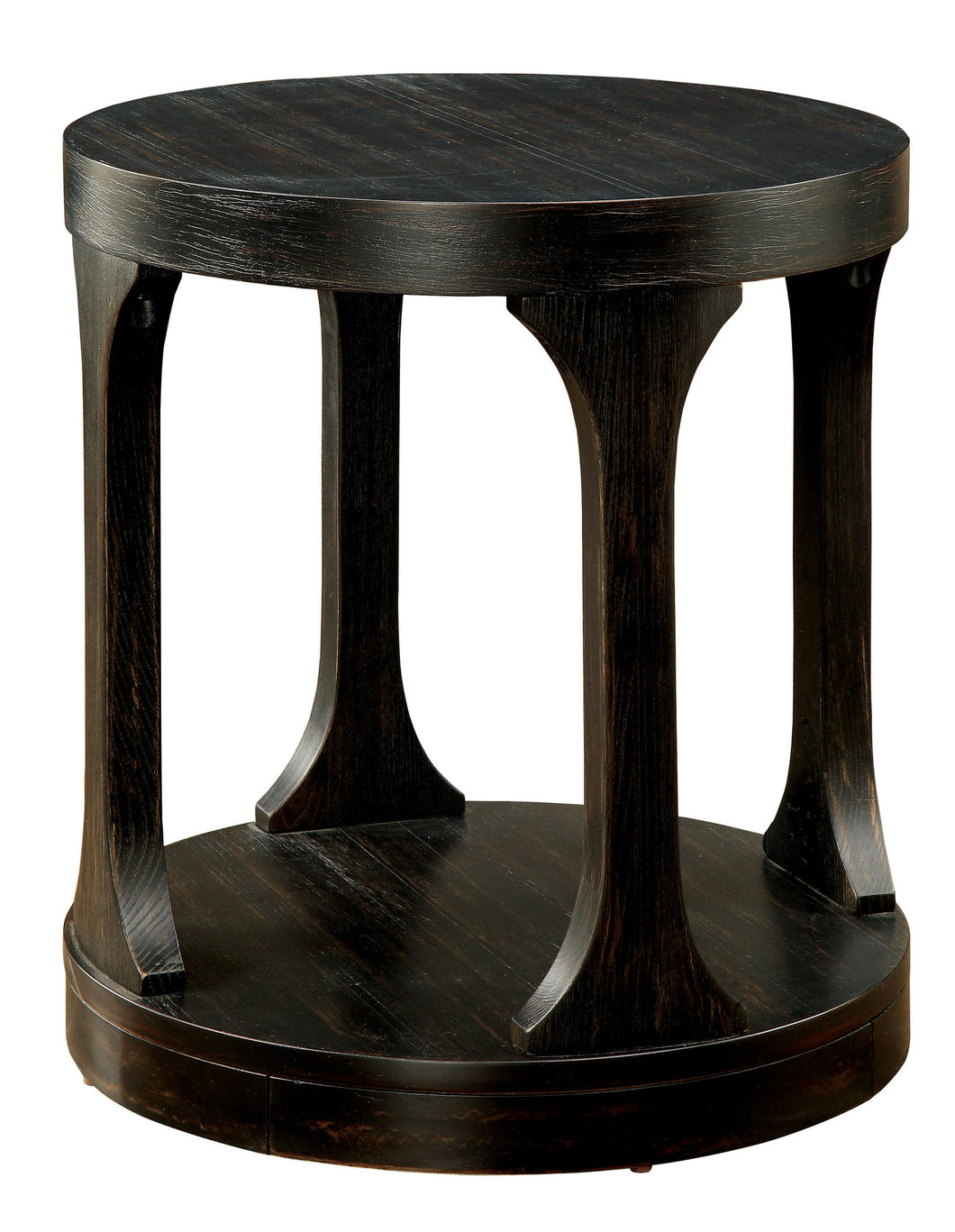 Theodora Transitional Round Antique Black End Table