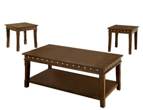 Fenwick Transitional Walnut 3-Piece Coffee and End Table Set