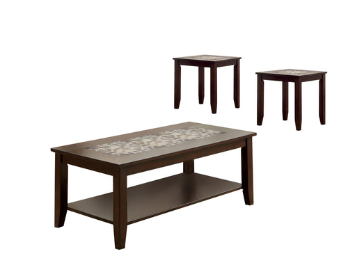Townsend Transitional Style Dark Cherry Finish Mosaic Insert 3-Piece Coffee & End Table Set