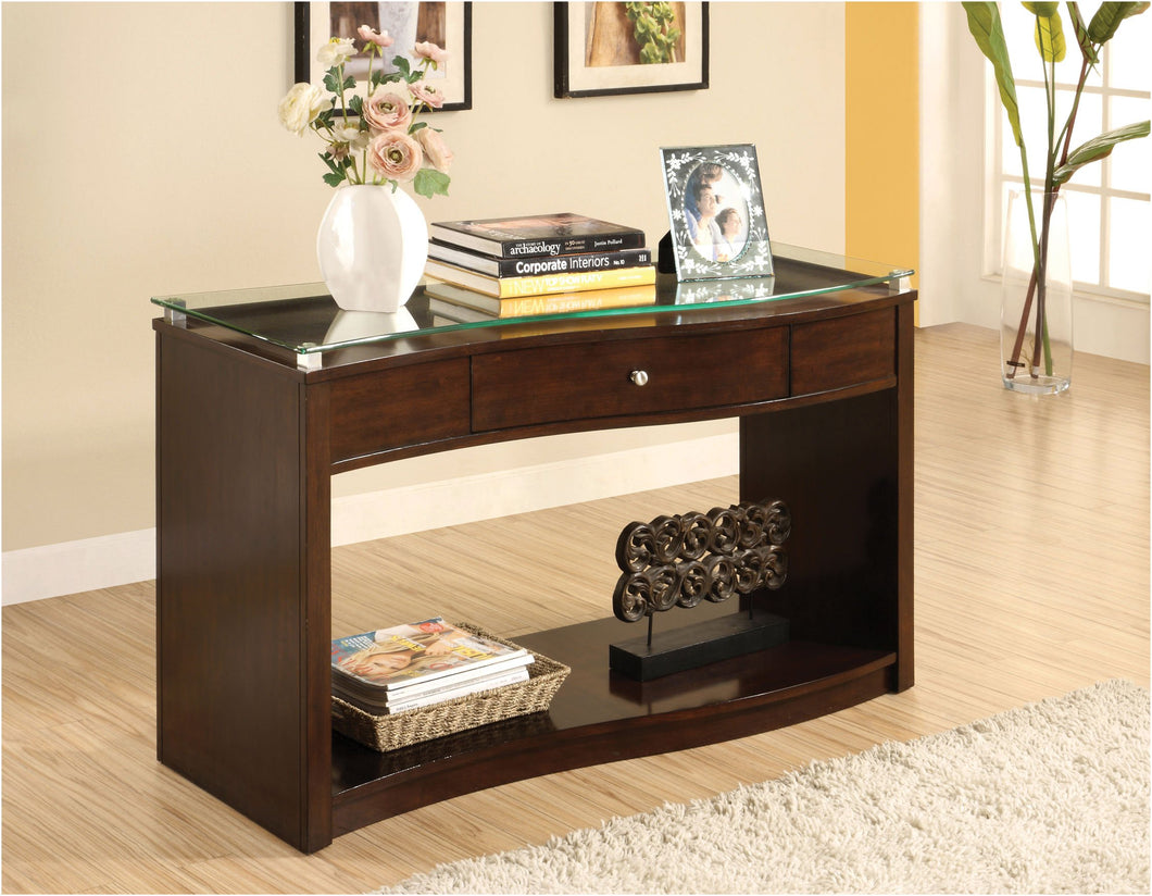 Mahri Contemporary Wavy Glass Top Espresso Console Table