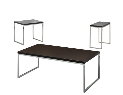 Menen Contemporary Style Chrome Finish 3 Piece Coffee Table Set