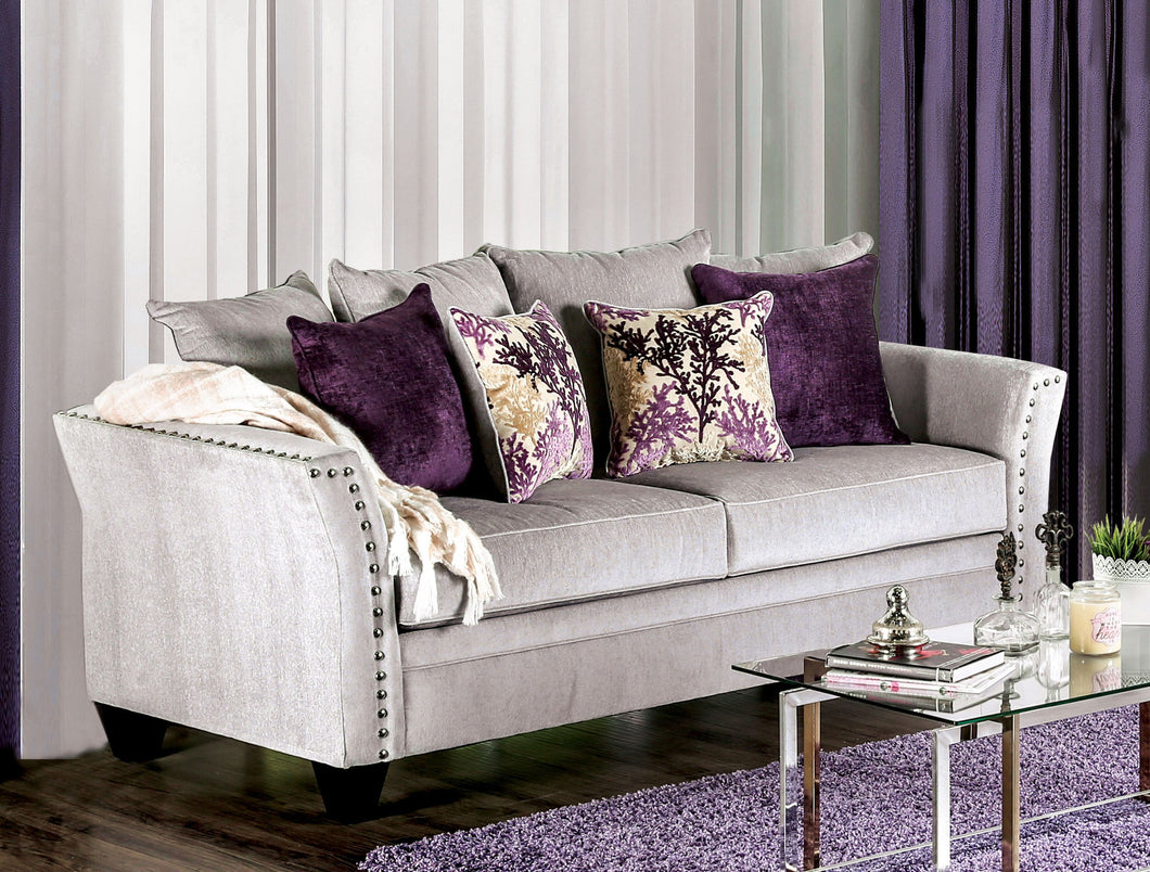 Alonny Transitional Premium Fabric Silver Sofa