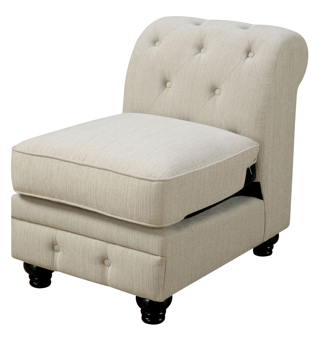 Lamont Traditional Linen-Like Fabric Armless Chair