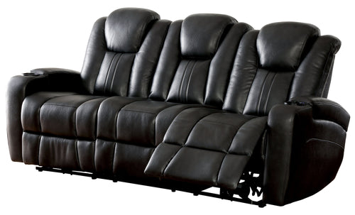 Ames Contemporary Lighted Storage Area Black Recliner Sofa